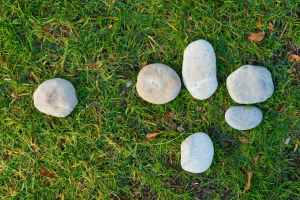 six gray stone on lawn grass